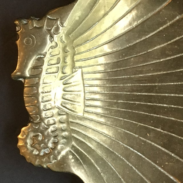 Hollywood Regency 1980s Hollywood Regency Brass Seashell & Seahorse Catchall Dish For Sale - Image 3 of 6