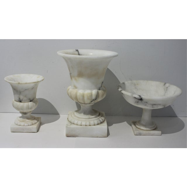 Vintage White Marble Urns and Compote - Set of 3 Pieces For Sale - Image 11 of 12
