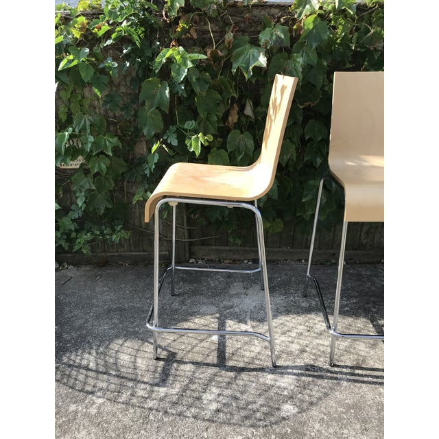 Minimalism Modern Wooden Stools - a Pair For Sale - Image 3 of 7