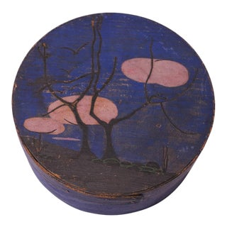 Early 20th Century Americana Pantry Box in Indigo With Tree Motif For Sale