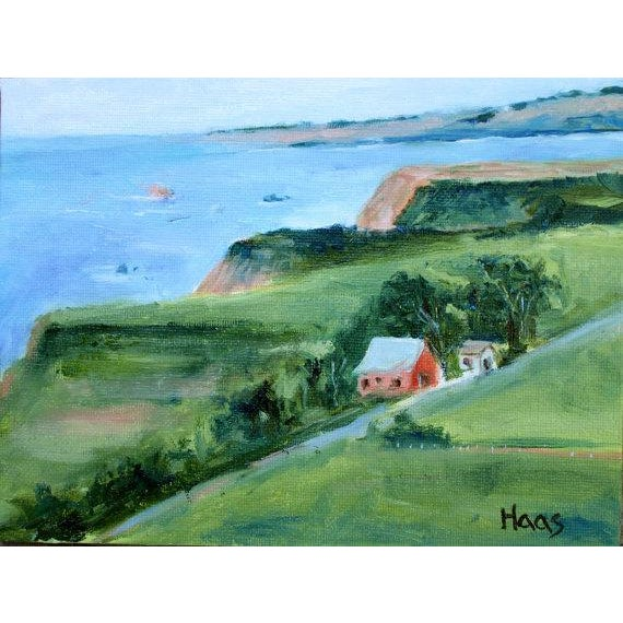 Canvas Irish Beach Barn Highway One Painting For Sale - Image 7 of 7