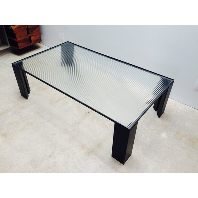 Italian Black Cocktail Table with Rib Glass Top For Sale - Image 9 of 9