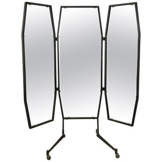 Italian Trifold Mirror on Casters For Sale