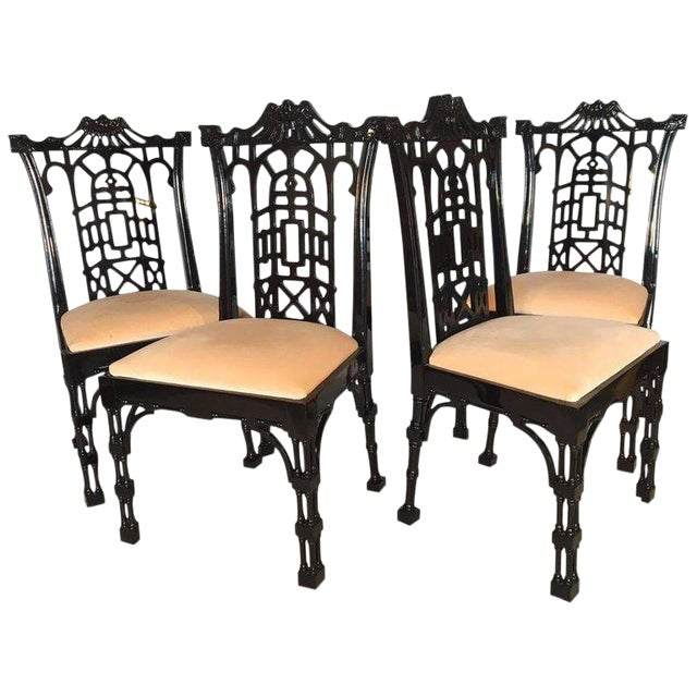 Set of 4 Black Lacquer Asian Chinoiserie Pagoda Dining Chairs For Sale