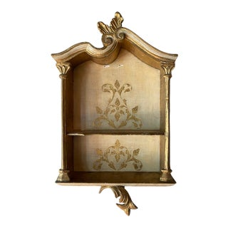 Italian Florentine Gold Gilt Wood Hanging Shelf For Sale