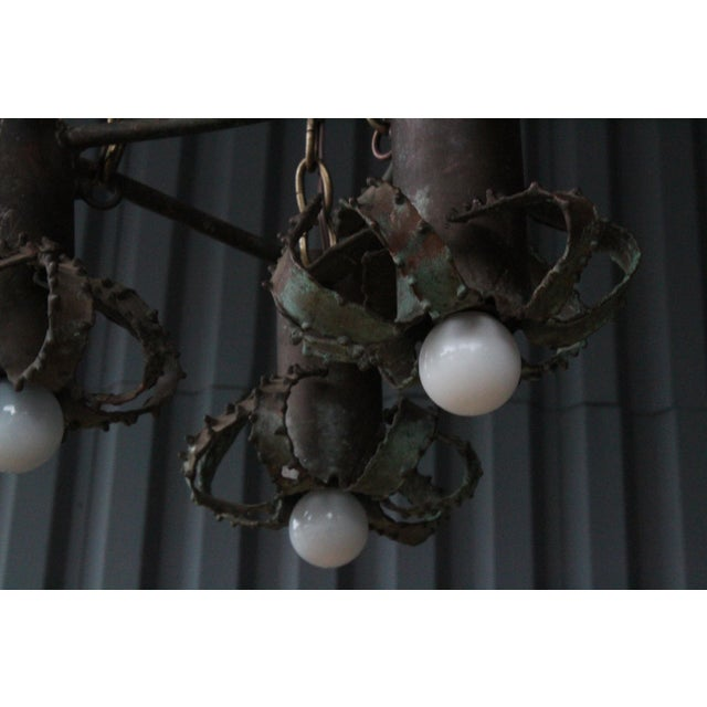 Iron Brutalist Pendant Light, 1970s For Sale - Image 4 of 8