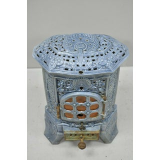 French Art Deco Lily Cast Iron Blue Porcelain Heater Stove Deville Charleville Preview