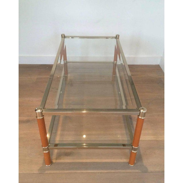 Gold Gilt Brass and Leather Coffee Table by Lancel For Sale - Image 8 of 11