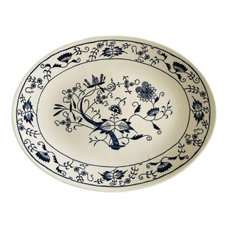Vintage 1950s Blue & White Oval Serving Platter For Sale
