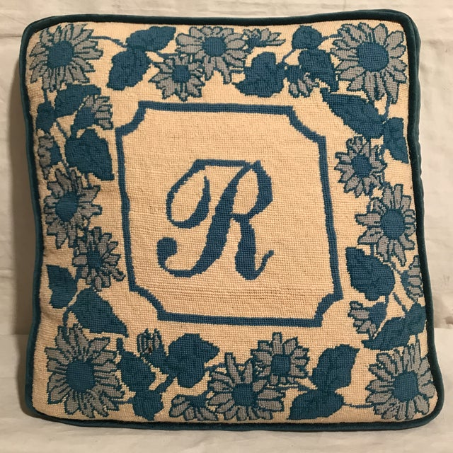 """Blue & White Floral & Initialed """"R"""" Needlepoint Pillow For Sale - Image 4 of 4"""