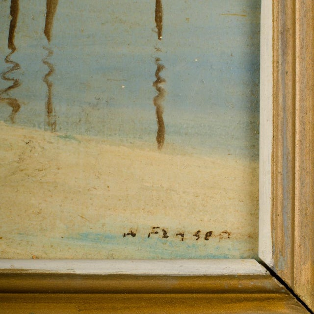 Realism Early 20th Century Harbor Scene Oil Painting by William Fraser, Framed For Sale - Image 3 of 10
