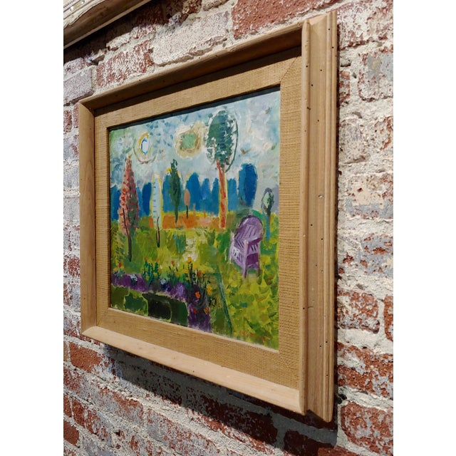 Brown Abbott Pattison -The Purple Chair in a Garden Landscape - Oil Painting For Sale - Image 8 of 10