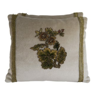 Pair of Silk Mohair Pillows With Floral Appliques
