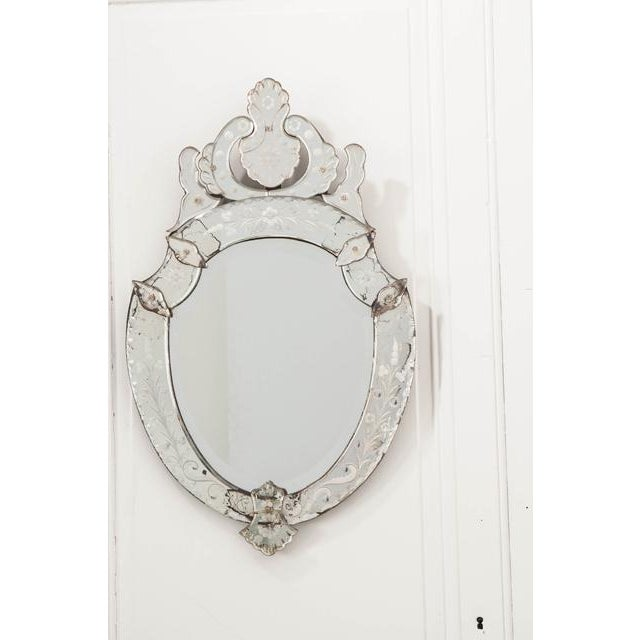 Glass Late 19th Century Venetian Shield Form Wall Mirror For Sale - Image 7 of 10
