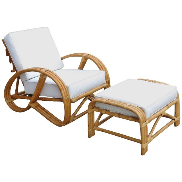 Restored Rattan Reclining Lounge Chair With 3/4 Pretzel Arms and Ottoman For Sale In Los Angeles - Image 6 of 6
