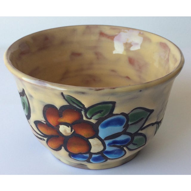 Ceramic Midcentury Floral Designed Ceramic Bowl Signed Miclay For Sale - Image 7 of 7