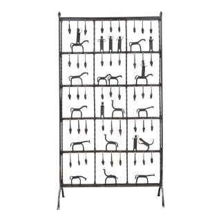 Frederick Weinberg Style Modernist Hand-Forged Iron Screen For Sale