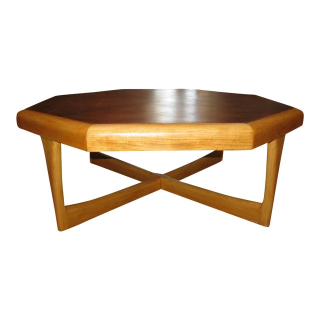 Lane Hexagonal Coffee Table Chairish - Hexagon wood coffee table