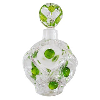 20th Century Art Deco Green Dot Detailed Lalique Perfume Bottle For Sale