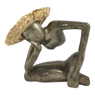"""Man in Mid Air"" Modern Metal Artisanal Sculpture For Sale"