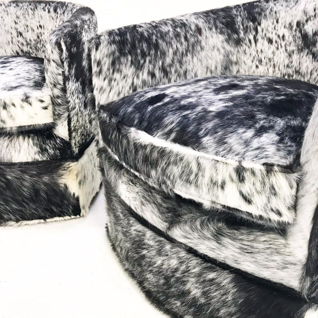 Vintage Milo Baughman Wheeled Restored and Reupholstered in Black and White Speckled Brazilian Cowhide Slipper Chairs - a Pair - Image 3 of 9