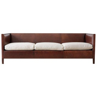 Modernist Leather Three-Seat Case Sofa For Sale