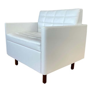 Bassamfellows Designed White Leather Tuxedo Classic Club Chair for Geiger For Sale