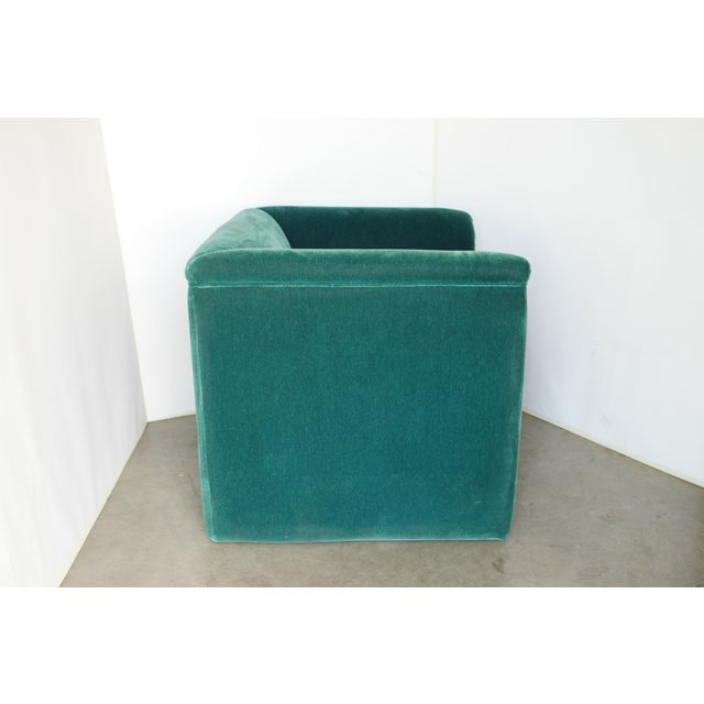 Vintage Blue- Green Mohair Club Chairs - a Pair For Sale - Image 9 of 12