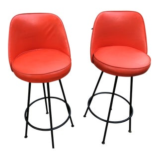 Mid Century Russel Woodard Retro Orange Vinyl Bar Stools - a Pair