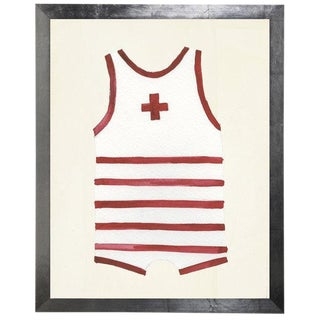 "Male Red Swimsuit Watercolor Print - 25"" X 31"" For Sale"