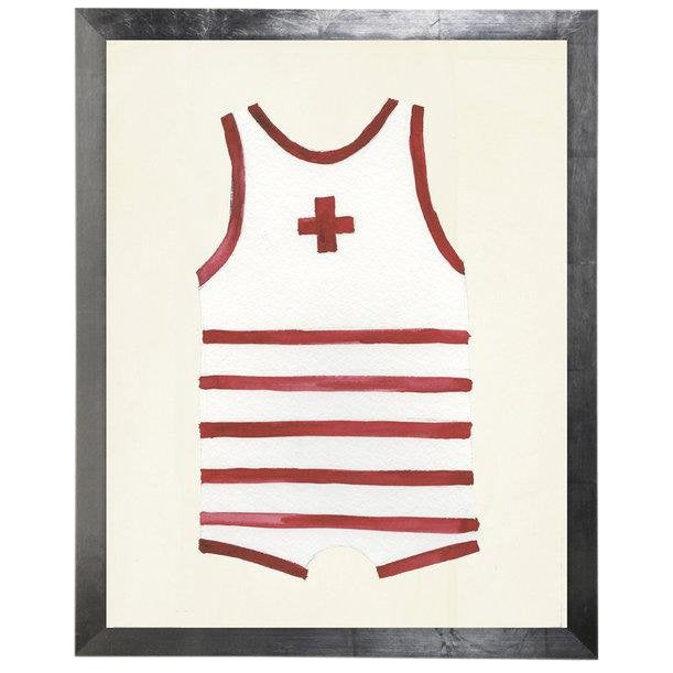 """Male Red Swimsuit Watercolor Print - 25"""" X 31"""" For Sale"""