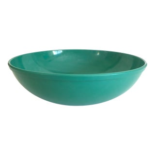 Vintage Mid Century Modern Melmac Melamine Extra Large Teal Green Round Serving Bowl For Sale