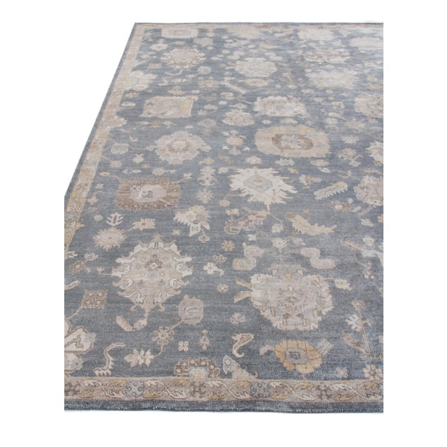 Chester Hand knotted Bamboo/Silk Medium Blue Rug-8'x10' For Sale - Image 4 of 8