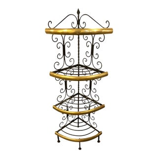 Brass and Wrought Iron Four-Tier Diminutive Bakers Rack For Sale