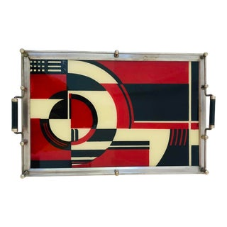 """""""Jazz Series"""" Reverse Painted Glass Metal Frame and Railing Cocktail Tray For Sale"""