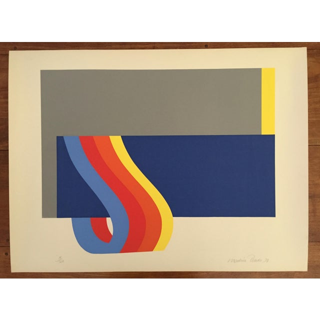 Blue Nadine Pardo 1972 Abstract Silkscreen For Sale - Image 8 of 9