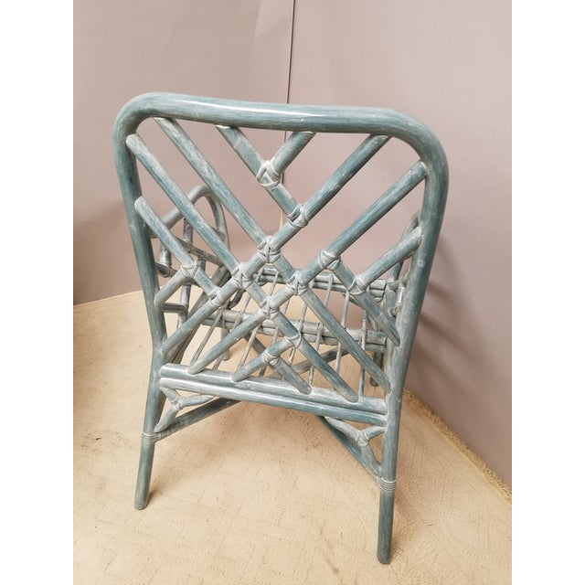 McGuire Pale Aqua Chinese Chippendale Rattan Armchairs - a Pair For Sale - Image 4 of 5