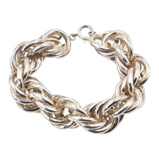 Wide Sterling Silver Chain LInk Bracelet For Sale