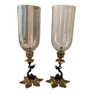 John Rosselli Brass Dolphin Candle Holders With Hand Blown Glass Hurricanes - a Pair For Sale