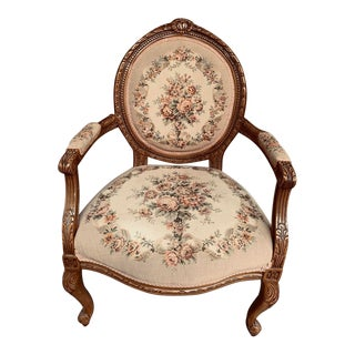 French Louis XV Victorian Style Needlepoint Tapestry Fireside Armchair For Sale