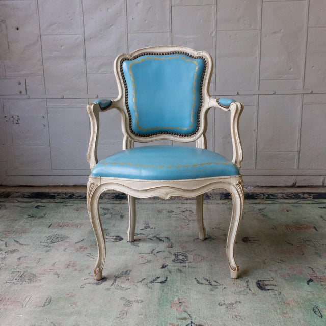 French 1960s Louis XV Style Blue Leather Armchairs - Set of 4 For Sale - Image 3 of 12