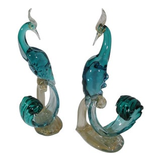 Mid-Century Barbini Murano Italian Pheasant Bird Sculptures - a Pair For Sale