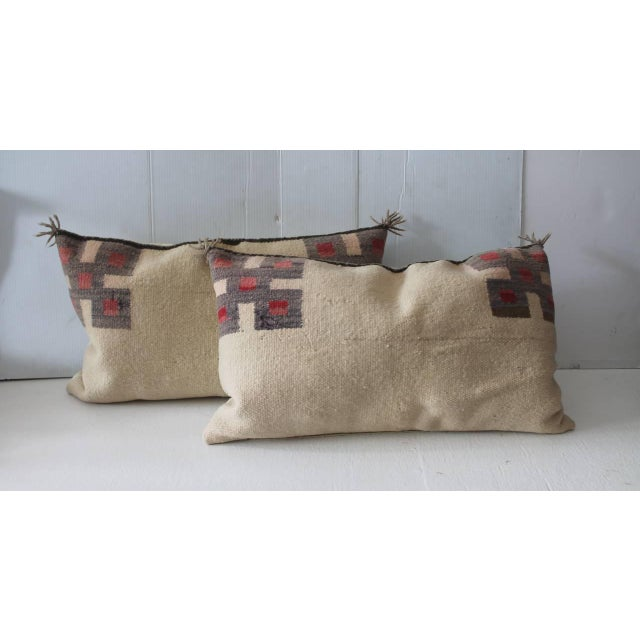 Fantastic Pair of Geometric Navajo Indian Weaving Saddle Blanket Pillows - Image 2 of 5