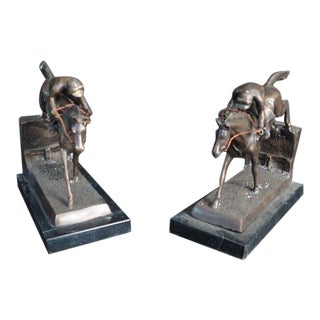 Bronze Horse & Jockey Bookends - a Pair For Sale