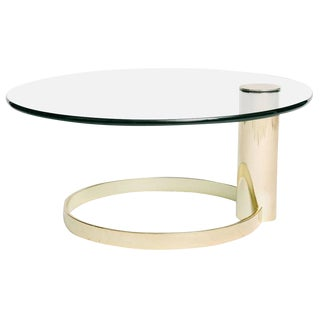 Modern Round Brass and Glass Cantilevered Coffee Table by John Mascheroni For Sale