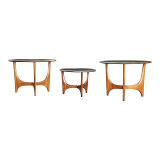 Mid-Century Modern Sculptural Glass Walnut End Tables - Set of 3 For Sale