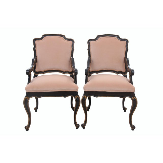 Late 20th Century Blush Velvet Louis XV Style Fauteuils- A Pair For Sale - Image 9 of 9