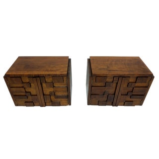 A Pair of Brutalist Nightstands by Lane For Sale