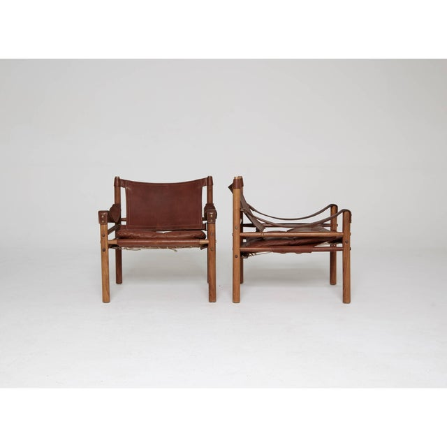 Arne Norell Rosewood and Brown Leather Safari Sirocco Chairs, Sweden, 1960s For Sale - Image 9 of 9