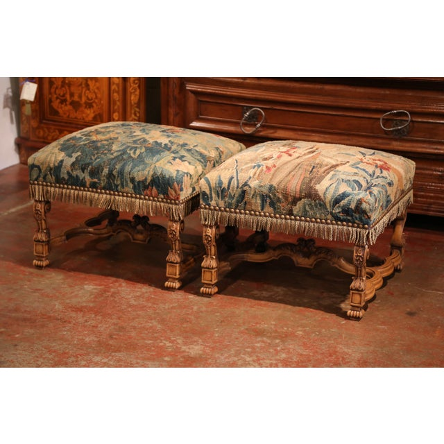 Late 19th Century 19th Century French Louis XIV Carved Walnut Aubusson Stools - a Pair For Sale - Image 5 of 9